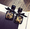 Корона і сережки а стилі Dolce&Gabbana, тіара чорна, модна біжутерія, фото 2