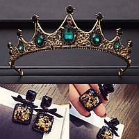 Корона и серьги а стиле Dolce&Gabbana, тиара чёрная, модная бижутерия