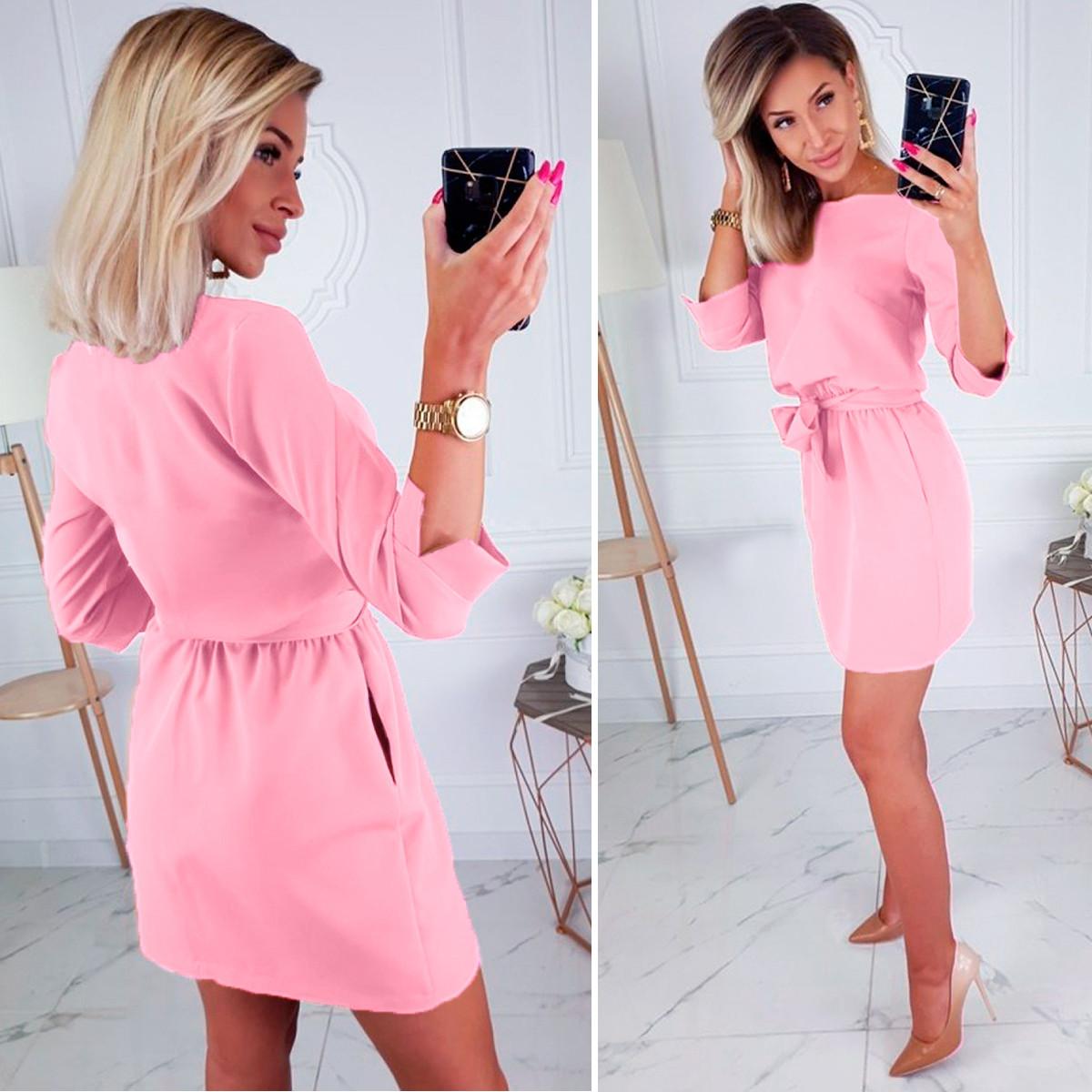 Розовое платье женское нарядное свободное с поясом мини