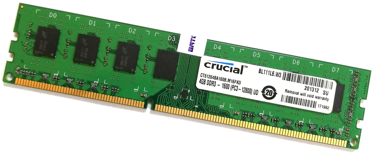 Оперативная память Crucial DDR3 4Gb 1600MHz PC3-12800U 2R8 CL11 (CT51264BA160B.M16FKD) Б/У