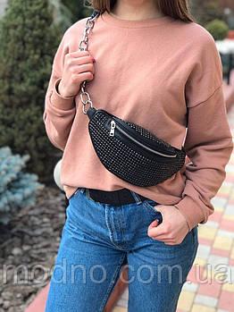 Жіноча шкіряна сумка бананка через плече і на пояс