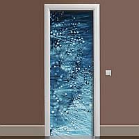Інтер'єрна наклейка на двері Роса ламінована подвійна плівка фотодрук кульбаби краплі води