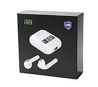 🔥Беспроводные наушники (вкладыши) TWS i99 сенсорные с гарнитурой Bluetooth V5.0 + зарядный кейс белые