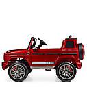 Дитячий електромобіль Джип 4180 EBLRS-3, Mercedes-Benz G63, колеса EVA, еко-шкіра, музика, світло, червоний лак, фото 5