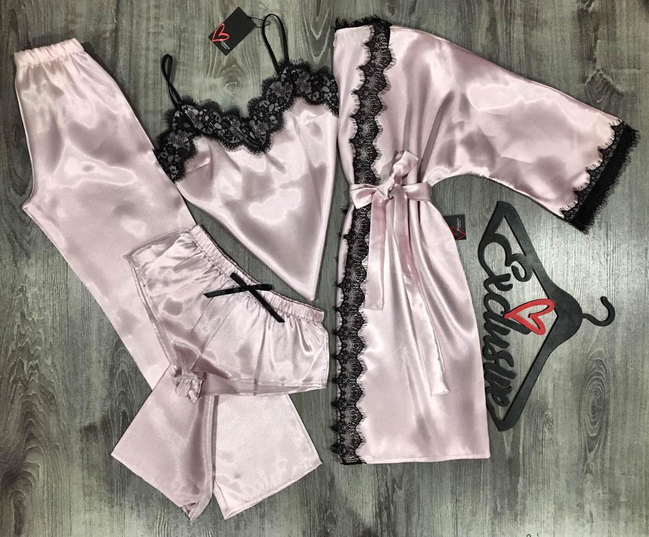 Жіночий атласний комплект для сну і відпочинку халат+піжама трійка.