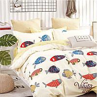 Комплект постельного белья для подростка из сатина в белом цвете с рыбками