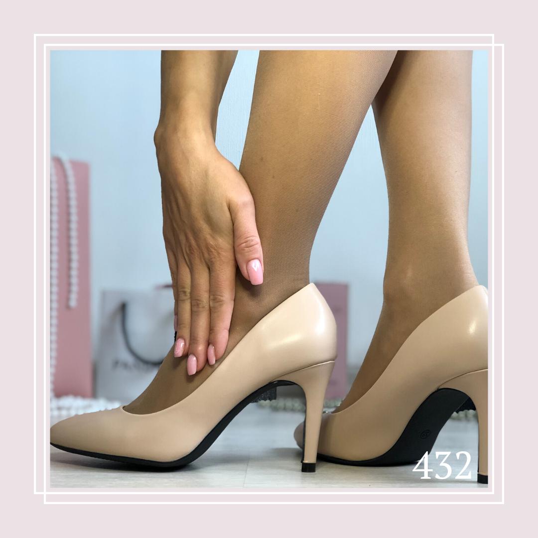 Женские туфли лодочки на шпильке, беж кожа