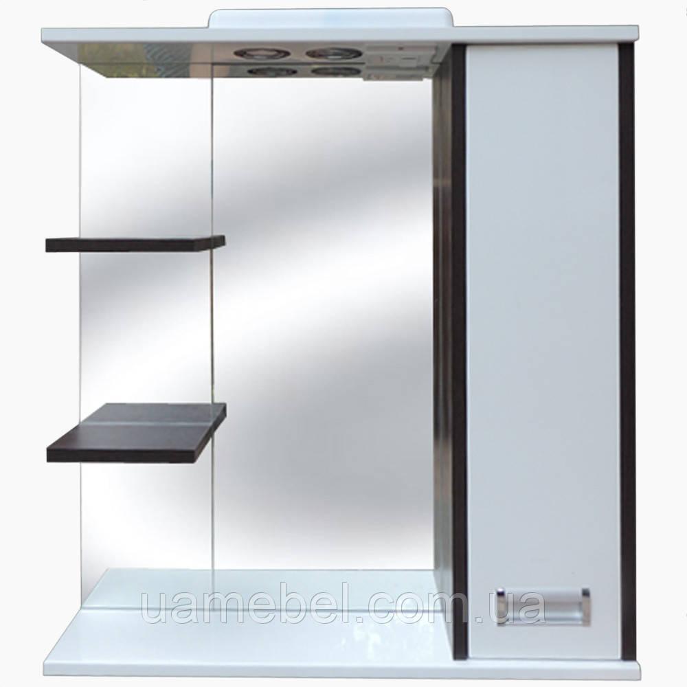 Зеркало в ванную с полкой З-2 Венге (70-105 см)