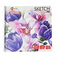 """Альбом для акварели SANTI """"Floristics"""", 210*210 мм, """"Paper Watercolour Collection"""", 10 л. 742622"""