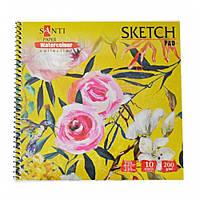 """Альбом для акварели SANTI """"Floristics"""", 210*210 мм, """"Paper Watercolour Collection"""", 10 л. 742623"""