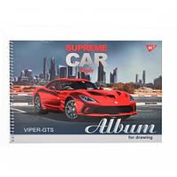 """Альбом для рисования А4 30л/100 """"Supreme cars"""" на спирали мат.лам+УФ-выб+фол сер YES 130390"""