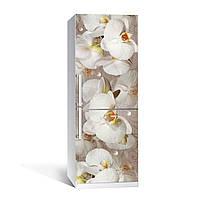 Виниловая наклейка на холодильник Орхидея и капли росы ламинированная двойная (пленка фотопечать цветы белые)