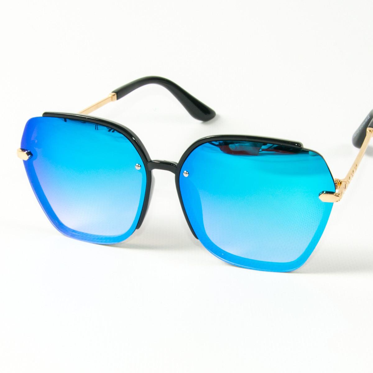 Оптом женские солнцезащитные зеркальные очки  (арт. 2323/3) голубые