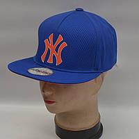 Мужская реперская кепка SNAPBACK - NY (синня/оранжевый знак)