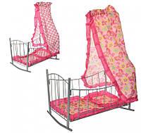 Кроватка с балдахином для кукол 47x33x67см, фото 1