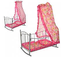 Ліжечко з балдахіном для ляльок 47х33х67см