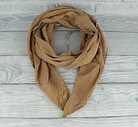 Итальянский шарф Girandola 0001-131 коричневый однотонный, коттон 80%, шелк 20%, фото 1