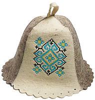 Шапка для бани и сауны из натуральной шерсти - Украинский орнамент Бирюза