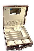Шкатулка для бижутерии и часов с зеркальцем коричневая (26,5х26,5х9,5 см)
