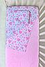Простынь на резинке в детскую кроватку Розовые сердечки №3, фото 2