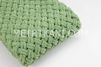 """В'язаний Плед """"Плюшевий"""" зеленого кольору 90/80 см №56-53"""