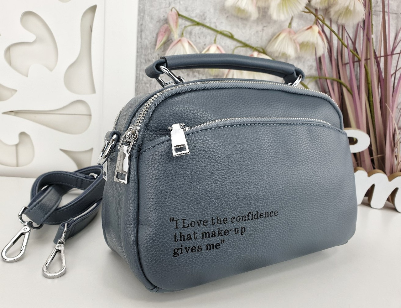 Женская сумка-клатч цвета джинс, эко кожа