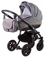 Универсальная коляска Adamex Erika 603K серый (лен) - серый (плетение)