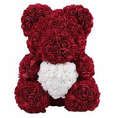 40 см Бордовый Мишка из роз | Мишка Тедди из роз с сердечком