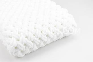 """В'язаний Плед """"Плюшевий"""" білого кольору 90/80 см №56-54"""