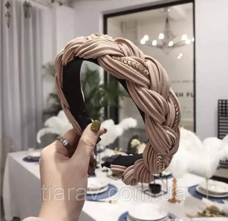 Модний обруч для волосся бежевий
