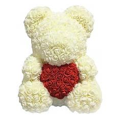 40 см Белый Мишка из роз | Мишка Тедди из роз с сердечком
