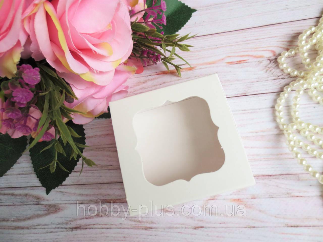 Коробка для изделий ручной работы с окном, 80х80х35 мм, белая, 1 шт