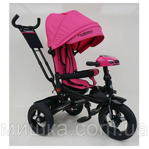Детский велосипед Turbotrike М 5448HA-6 трехколесный, колеса надувные, музыка, фара, красный