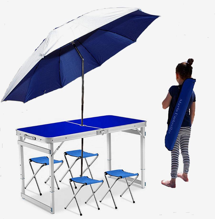 Усиленный складной стол + 4 стула + компактный зонт