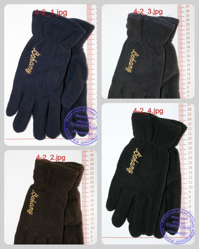 Мужские флисовые перчатки двойные - Черные, серые, коричневые, синие - 4-2