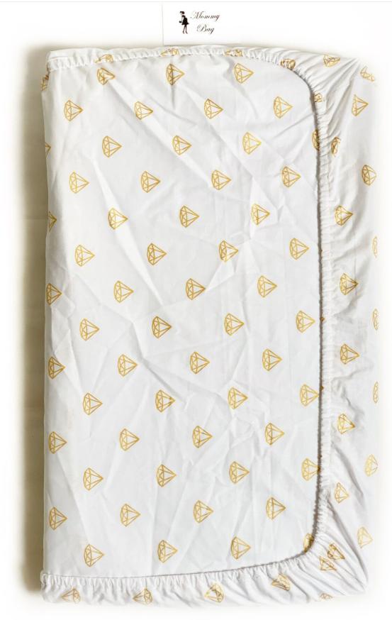 Простынь на резинке в детскую кроватку Бриллианты №13