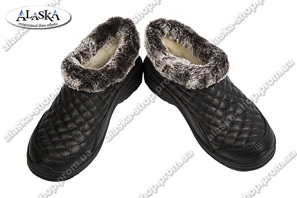 Женские меховые галоши черные (Код: Б-03)