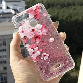Чехол Glitter для Xiaomi Redmi 6A Бампер Жидкий блеск Sakura