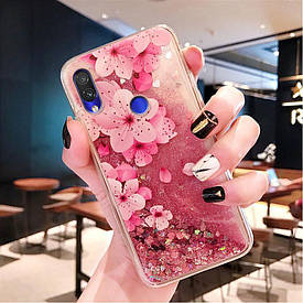 Чехол Glitter для Xiaomi Redmi 7 Бампер Жидкий блеск Sakura