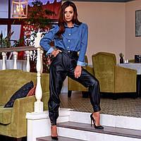Женские брюки из экокожи черные