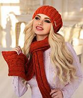 Комплект шапка объемная и шарф в 9ти цветах 4153-10