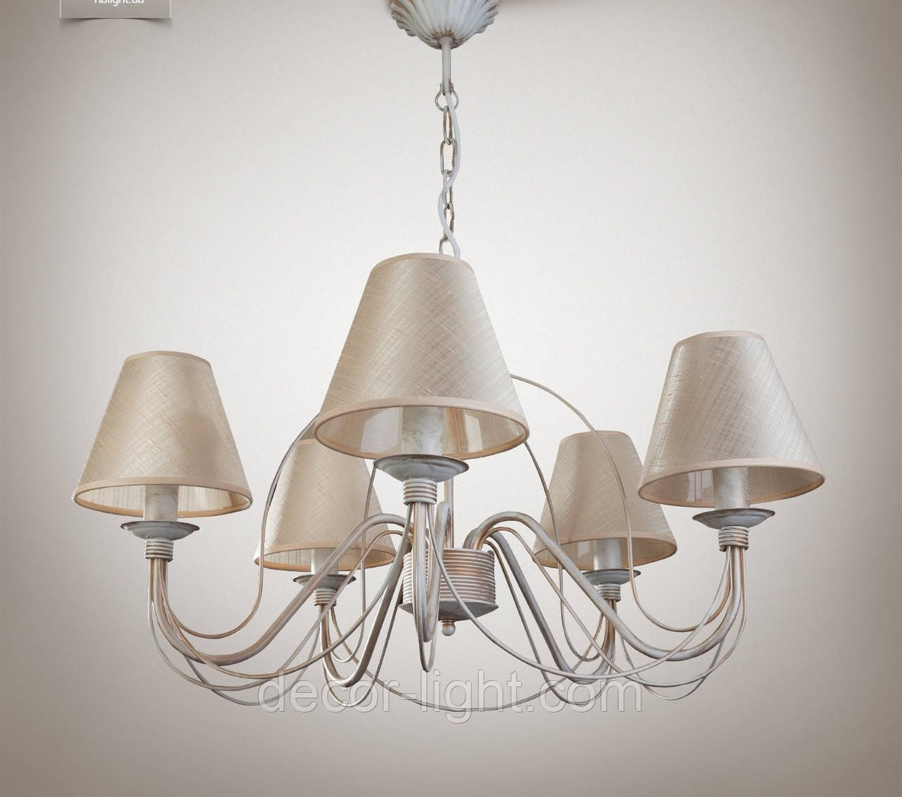 Люстра 5 ламповая для спальни, зала, большой комнаты с абажурами  18355-4