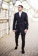 """Молодежное мужской кашемировое пальто """"Батя"""" весна-осень черное"""