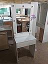 Узкий гримерный столик, высокое зеркало с подсветкой, белый, фото 2