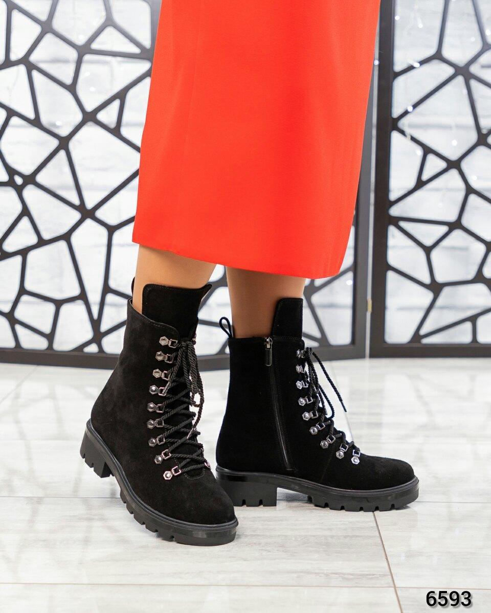 Демисезонные ботинки женские замшевые черные