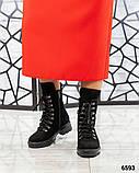 Демисезонные ботинки женские замшевые черные, фото 2
