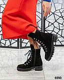 Демисезонные ботинки женские замшевые черные, фото 4