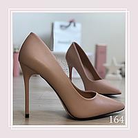 Женские туфли лодочки на высокой шпильке, беж кожа, фото 1