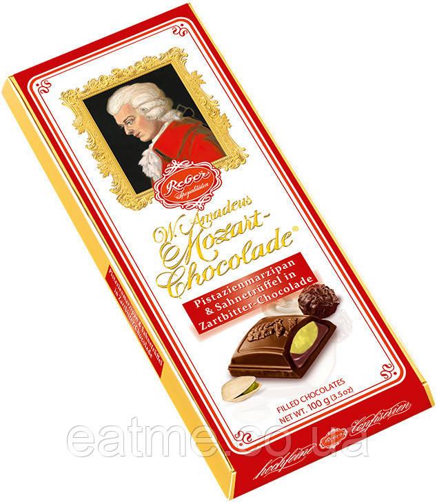 """Шоколад Reber """"Mozart"""" Темный шоколад с фисташковым марципаном и сливочным трюфелем"""