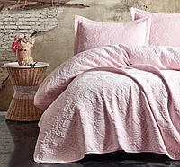 Покрывало 240x260 розовое с наволочками Cotton Box Soft Pembe